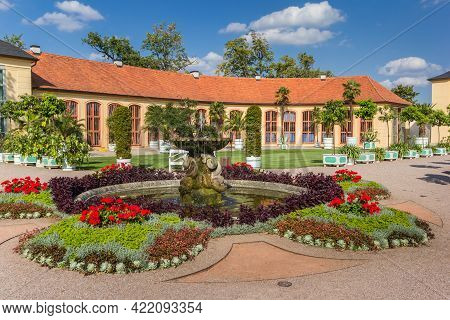 Colorful Garden And Fountain At The Belvedere Castle In Weimar, Germany