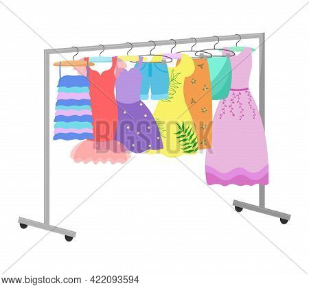 Dresses On A Hanger. Different Female Clothing Is Hanging. Casual And Evening Outfits For Women. Vec