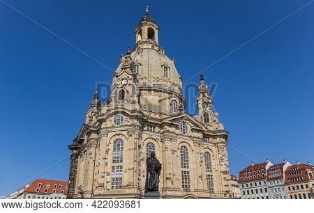 Historic Frauenkirche Church And Colorful Houses In Dresden, Germany
