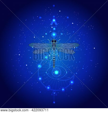 Vector Illustration With Hand Drawn Dragonfly And Sacred Geometric Symbol Against The Starry Sky. Ab