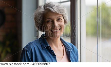 Head Shot Portrait Optimistic Happy Senior Latin Female