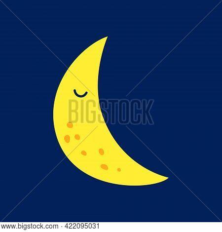 Cute Moon, Vector Illustration, Baby Icon, Eps10