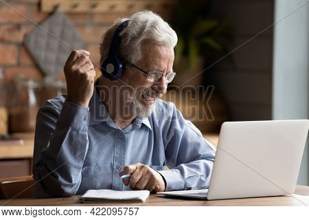 Mature Man Use Laptop Gain New Knowledge Use Internet Resources