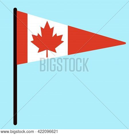Flag Of Canada. Vector Country Banner On A Stick. Red Maple Leaf On A Triangular Standard. Isolated