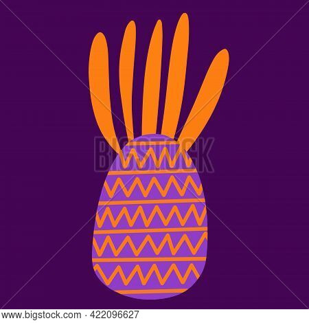 Pineapple Vector Illustration. Bright Exotic Fruit With A Pattern. Tropical Dessert. Isolated Icon.