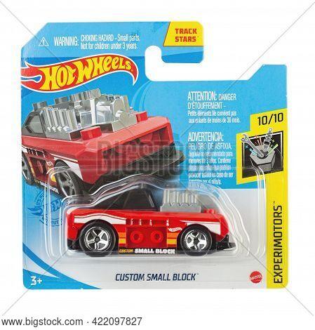 Ukraine, Kyiv - April 26. 2021: Toy Car Model Hw Custom Small Block . Hot Wheels Is A Scale Die-cast