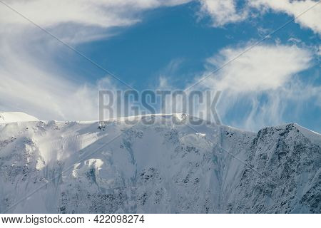 Awesome Mountain View To High Snowy Mountain Wall Under Sirrus Low Clouds In Sky. Scenic Alpine Land