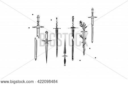 Hand Drawn Vector Abstract Stock Flat Graphic Illustration With Sacred Logo Element Of Magic Sword S