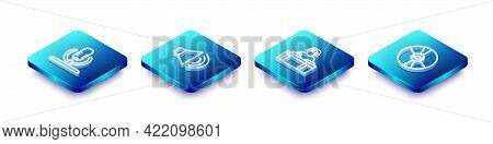 Set Isometric Line Microphone, Speaker Volume, Dj Playing Music And Cd Or Dvd Disk Icon. Vector