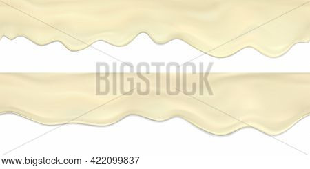 Vector Set Seamless Border Of Realistic Flowing Down Waves And Drops Of Mayonnaise.realistic Vector
