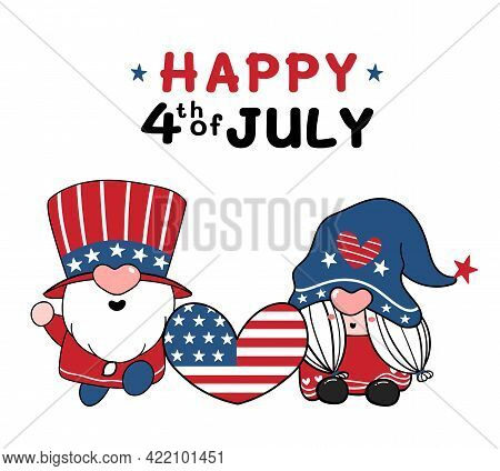 Two Cute America Gnome 4th Of July Independence Day Cartoon Flat Vector Doodle Illustration