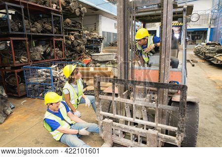 Accident Of Working Man In Wide Shot, Forklift Over Leg Of Engineer. Asian Engineer Worker Man Painf