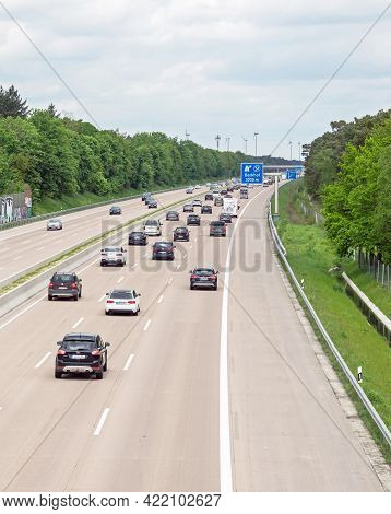 Berkhof, Germany May 23, 2021: A View From A Bridge Of Free Flowing Traffic On The A7 Motorway Near