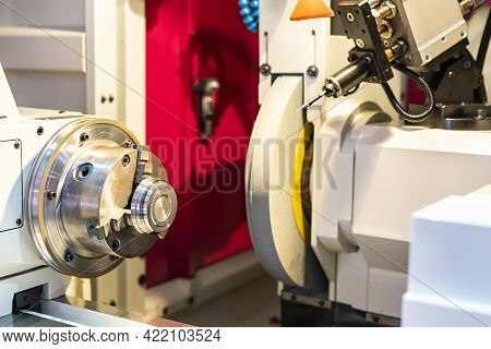 Metal Cylinder Or Workpiece Clamp By 3 Jaw Chuck And During Surface Grinding On High Precision Autom