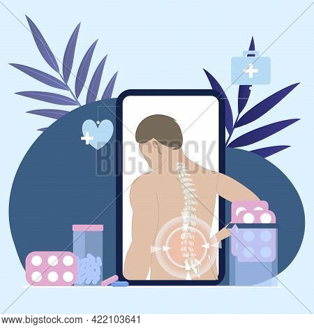 Online Consulted By Chiropractor, Using Smartphone And Camera. Chiropractor Back Treat Hurt Spine, V