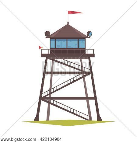 Forest Ranger Fire Tower Cartoon Icon Vector Illustration