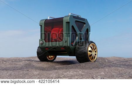 Two-wheel Parcel And Spare Part Delivery Balancing Box Bot On Rock Hill Beside Beach And Sea In Outd