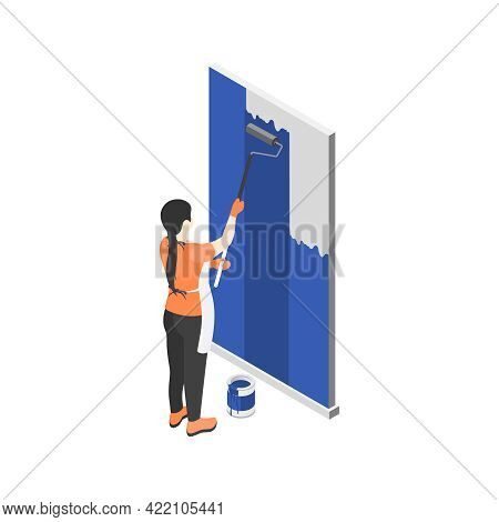 Isometric Renovation Icon With Woman Painting Wall In Blue Color With Roller 3d Vector Illustration