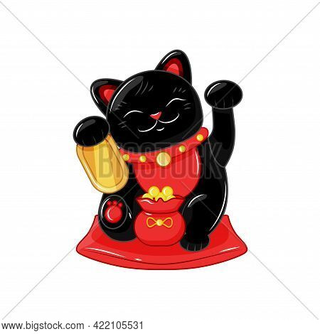 Japanese Traditional Cat Maneki Neko. A Figurine With A Bag Of Gold Coins, A Symbol Of Good Luck And