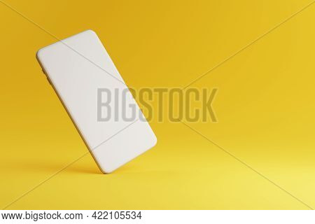 Mobile Phone Mockup With White Blank Screen On Yellow Background With Copy Space. Technology And Com