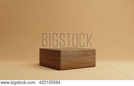 One Brown Wooden Rectangle Cube Product Stage Podium On Orange Background. Minimal Fashion Theme. Ge