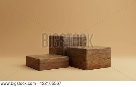 Three Brown Wooden Rectangle Cube Product Stage Podium On Orange Background. Minimal Fashion Theme.