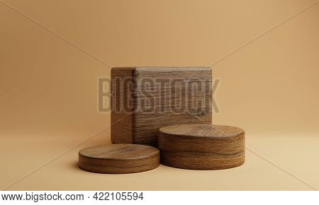 Three Brown Wooden Rectangle Cube And Round Cylinder Product Stage Podium On Orange Background. Mini
