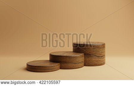 Three Brown Staircase Shape Wooden Round Cylinder Product Stage Podium On Orange Background. Minimal