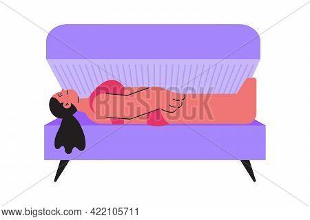 Smiling Woman Lying In Solarium Flat Icon Vector Illustration