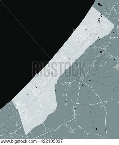 Detailed Map Of Gaza Strip Administrative Area. Royalty Free Vector Illustration, Land Panorama. Dec