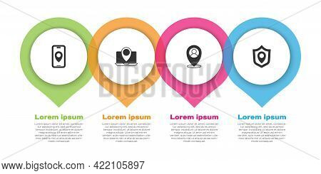 Set City Map Navigation, Laptop With Location Marker, Location Person And Shield. Business Infograph