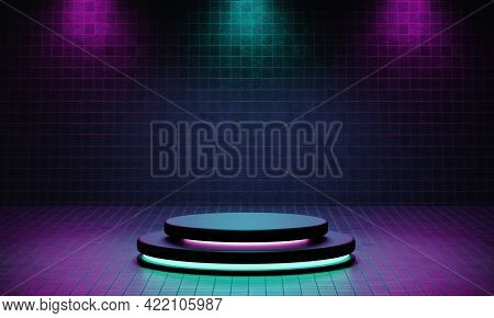 Cyberpunk Product Podium Platform Studio With Blue And Violet Spotlight And Grunge Style Textured Ba