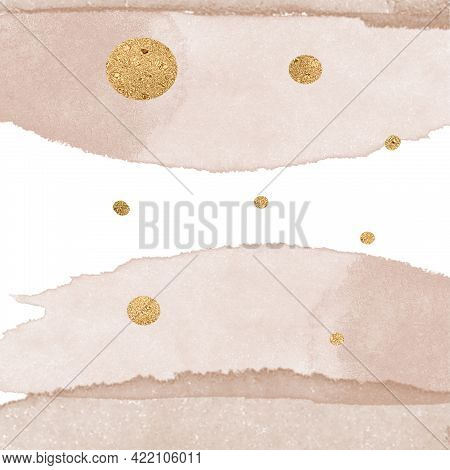 Elegant Beige Gradient And Gold Circles Template, Aesthetic Background, Beige Art