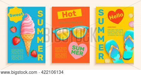 Summer Flyers, Cards With Hot Season Symbols-ice Cream, Strawberries, Sunglasses And Slippers.bright