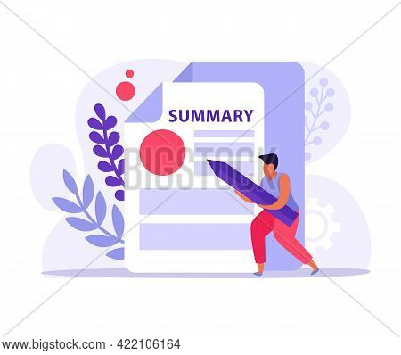 Flat Document Icon With Summary And Man Holding Pencil Vector Illustration
