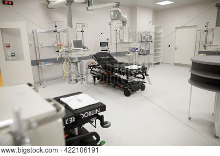 Bucharest, Romania - May 27, 2021: Details From A Newly Built Emergency Unit (emergency Room, Er) Of