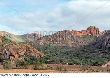 Red Stone Hills, South Africa - April 6, 2021: Vensterkop, A Hole In The Mountain At Red Stone Hills