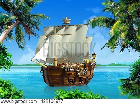 Cartoon Ancient Wooden Ship At Sea On Tropical Coast. 3d Illustration.
