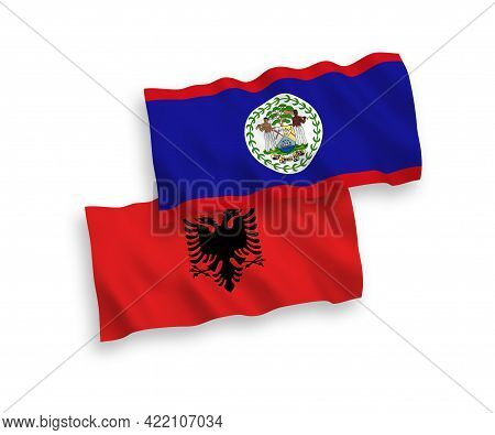 National Fabric Wave Flags Of Belize And Albania Isolated On White Background. 1 To 2 Proportion.