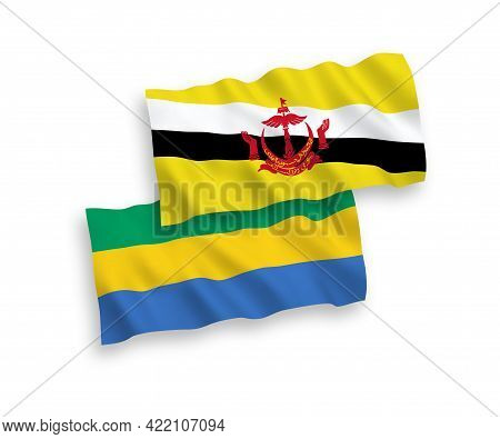 National Fabric Wave Flags Of Brunei And Gabon Isolated On White Background. 1 To 2 Proportion.