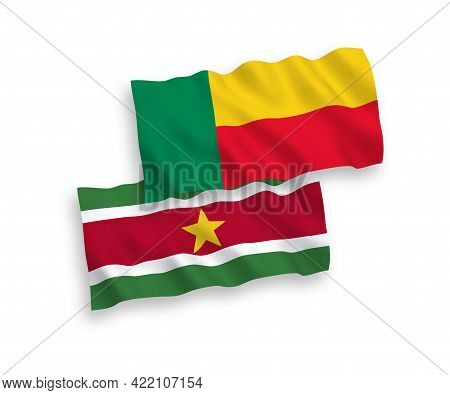 National Fabric Wave Flags Of Republic Of Suriname And Benin Isolated On White Background. 1 To 2 Pr