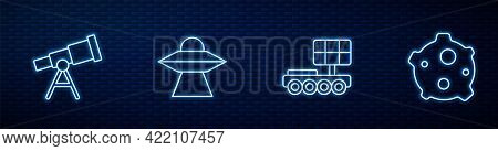 Set Line Mars Rover, Telescope, Ufo Flying Spaceship And Asteroid. Glowing Neon Icon On Brick Wall.