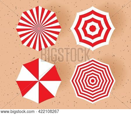 Beach Umbrella Set Of Different Design. Top View. Summer Concept Vector Illustration