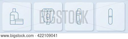 Set Line Cream Or Lotion Cosmetic Tube, Mascara Brush, Epilator And Nail File. White Square Button.