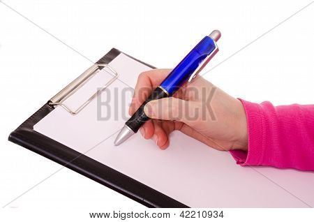 Female Hand Is Writing With A Ballpen