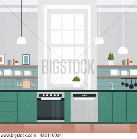 Modern Kitchen Interior With New Oven And Dishwasher Home Appliances Concept Horizontal