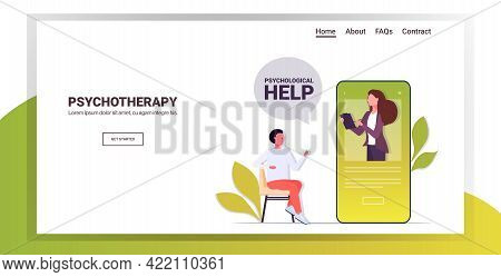 Man Visited Online Psychologist In Smartphone Screen Female Psychotherapist Consulting Male Patient