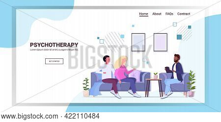 Psychotherapist Consulting Young Family Couple Patients During Psychotherapy Session Mental Health