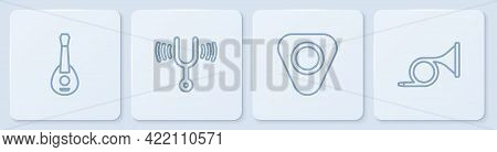 Set Line Guitar, Pick, Musical Tuning Fork And Trumpet. White Square Button. Vector