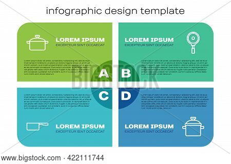 Set Line Saucepan, Cooking Pot, And Frying. Business Infographic Template. Vector